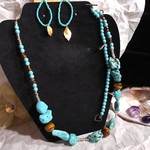 Home Made Goth Turquoise Necklace Bracelet Earrings and Tigers Eye for Sale in Tyler, TX