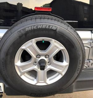 Black FRIDAY SALE!!!!! Great gift: Factory Rims and Tires for a 2019 Jeep Wrangler Sport. for Sale in Benbrook, TX