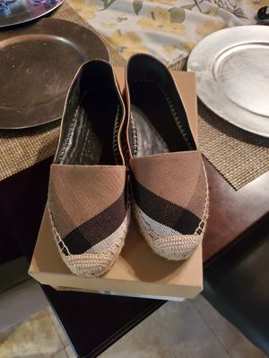 Burberry metallic/ black/ tan espadrilles. for Sale in Chula Vista, CA