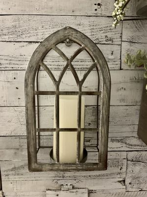 Unique / farmhouse metal cathedral display / candle holder / wall decor for Sale in Deltona, FL