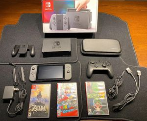 Nintendo Switch Console Bundle w/Pro Controller + 3 Games + Travel Case for Sale in Alameda, CA