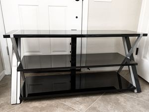 """Whalen Black TV Stand for 65"""" Flat Panel TV stand with Tempered Glass Shelves for Sale in Las Vegas, NV"""