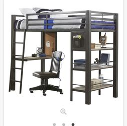 Colefax Avenue Black Twin Loft Bed With Desk And Bookcase for Sale in White House,  TN