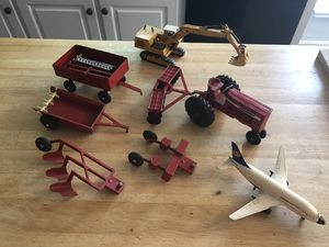 Diecast metal toys farm tractor and vintage bang cap gun holster belt for Sale in Raleigh, NC