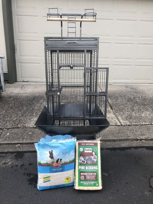 Bird cage with supplies for Sale in Wilsonville, OR
