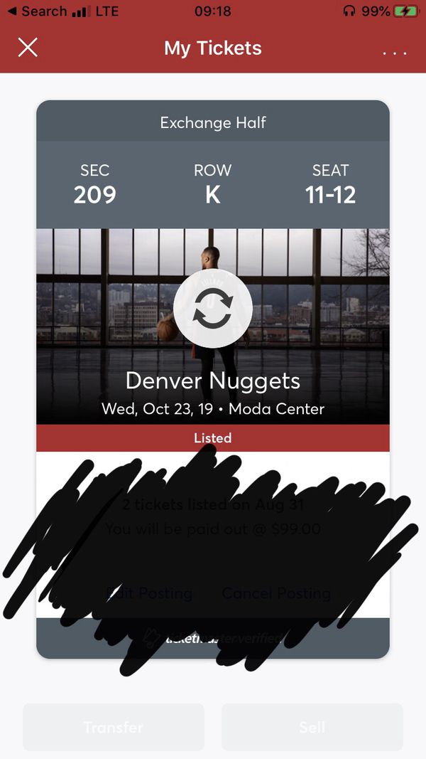 2 Home Opener 200 level Trail Blazers tickets vs Denver Nuggets
