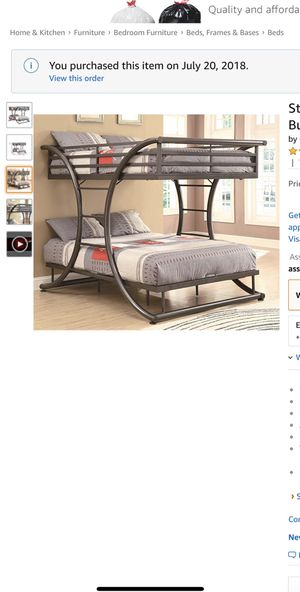 Full over full gunmetal bunk bed! Frame only! for Sale in Brooklyn, NY