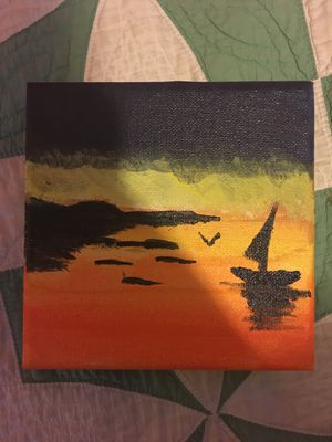 "Beautiful Acrylic Sunset painting 6x6"" 15x15cm for Sale in Detroit, MI"