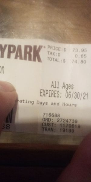 Hershey Park tickets come with meal every 90 minutes and waterpark have two of them for Sale in York, PA
