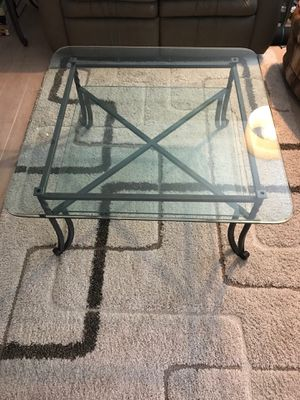 3-piece set cast iron/tempered glass coffee tables for Sale in Orlando, FL
