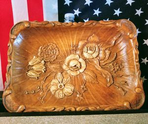 Vintage Syroco OmaWood style tray with Rose's. Like June's Online Consignment Shop on Facebook for Sale in Neenah, WI