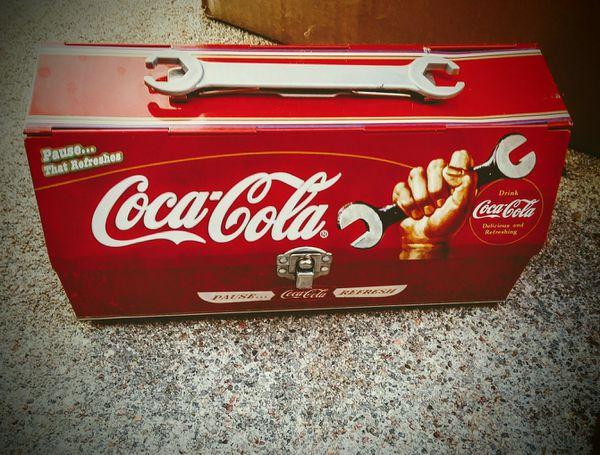 Coca cola tin tool box