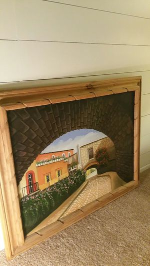 Beautiful oil painting of Spanish hacienda for Sale in US