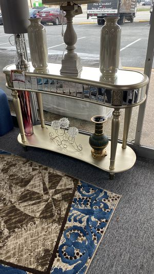 Metallic Console Table with Mirror Accent Trim R1 for Sale in Irving, TX