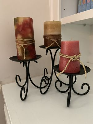 Black Metal Pillar Candle Holders for Sale in Apex, NC