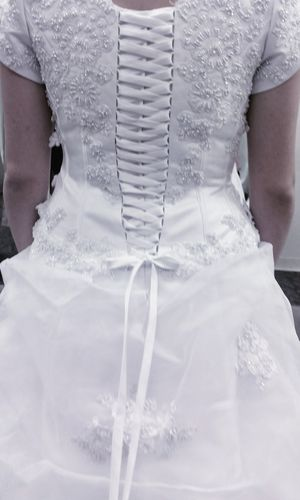 Wedding Dress & Slip - Size 8 David's Bridal Gown Corset Style Sleeves for Sale in Queen Creek, AZ