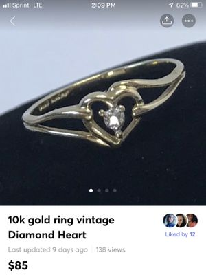 10k gold ring vintage Diamond Heart. Excellent condition for Sale in Bethlehem, PA