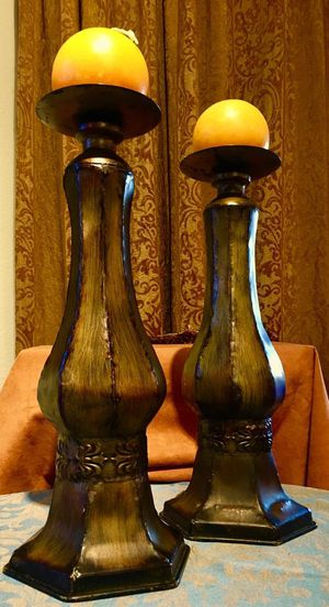 Set 2 beautiful large candle holders - quality metal art; H18xW7.5 inch for Sale in Chandler, AZ