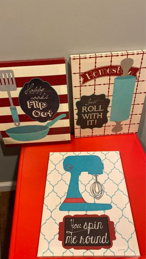Set of 3 kitchen canvases approximately 14 in tall 11 in wide for Sale in Dearborn, MI