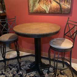 Faux Crocodile Hightop Table with 2 Suede-style Swivel Bar Stool for Sale in Gainesville,  VA