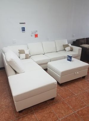 Sectional w/ Ottoman & 2 Accent Pillows in Bonded Leather Living Room [Only $50 Down] [90 Days to Pay Cash Price & No Interest] for Sale in Irving, TX