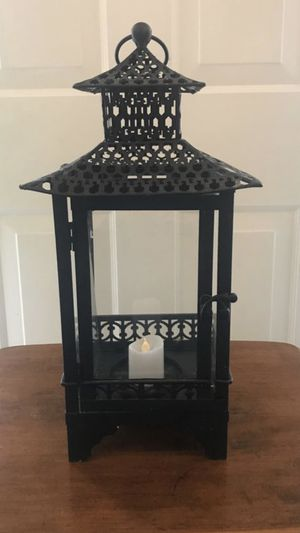 Beautiful Black metal candle holder for outdoors or indoors for decoration for Sale in Stroudsburg, PA