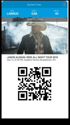 2 jason aldean tickets Sept 14th Burgettstown Pa for Sale in Fairmont, WV