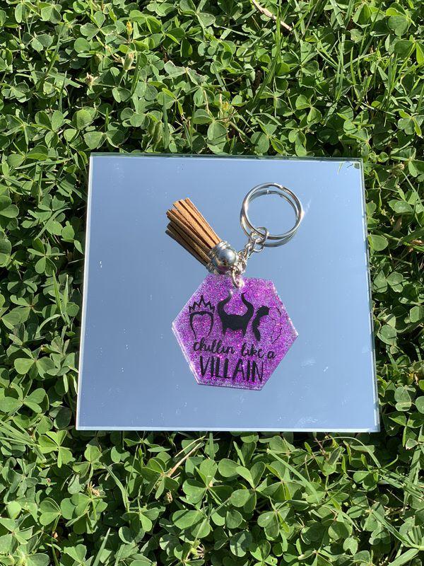 Handmade Halloween Acrylic Keychain w Tassel