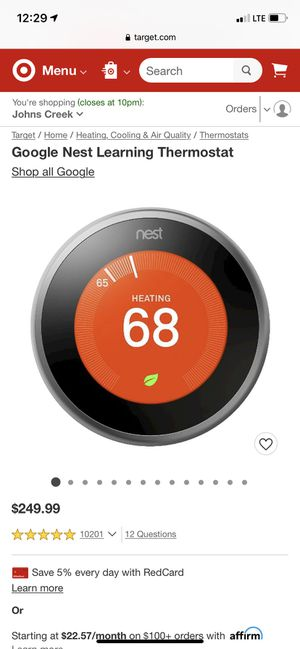 Nest learning thermostat for Sale in Paris, TX