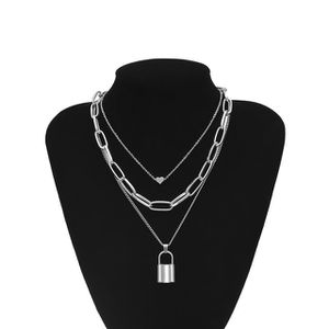 Heart Necklace Triple Layer Lover Lock Pendant, Silver Color for Sale in Los Angeles, CA