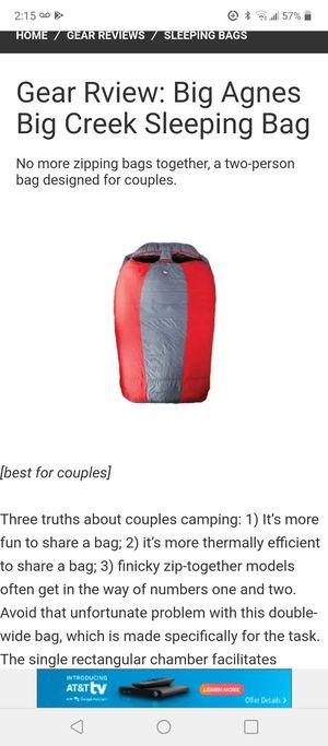 Big Agnes Big creek 30 double 2 person Sleeping bag mummy bag stuff sack for Sale in Leander, TX