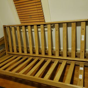 Wood Futon Frame With Black Mattress for Sale in Milwaukie, OR