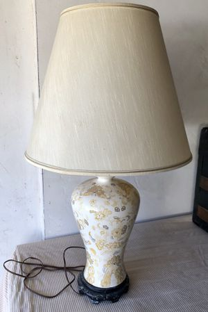 MCM Retro Lamp w/ Shade - Beige/White w/ Flowers & Black Base for Sale in Tustin, CA