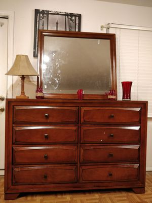 "Big dresser/TV stand with mirror and 8 drawers, all drawers sliding smoothly, pet free smoke free, few scratches, check the pictures L58""*W17""*H40"" for Sale in Annandale, VA"