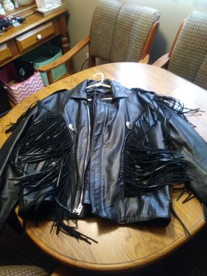 Black leather fringe coat for Sale in Lincoln Park, MI