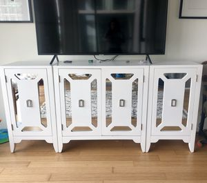 White mirrored tv stand/bookcase for Sale in San Diego, CA