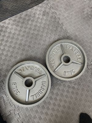 Cast iron Olympic weights. 2 inch hole sold as a pair for Sale in Los Angeles, CA