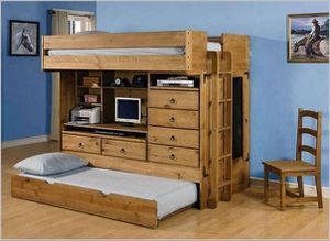 Brown Twin Size Loft Bed With Trundle & Drawers for Sale in Brooks, OR