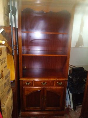 Solid Wood Lighted Bookcase with Glass Shelves for Sale in Kansas City, KS