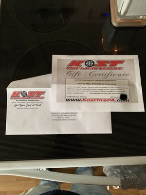 $400 KOST TIRE GIFT CERTIFICATE for Sale in Dunmore, PA