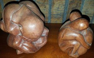 Wooden Carved Hugging Couple and Crying Buddha for Sale in Westminster, CO