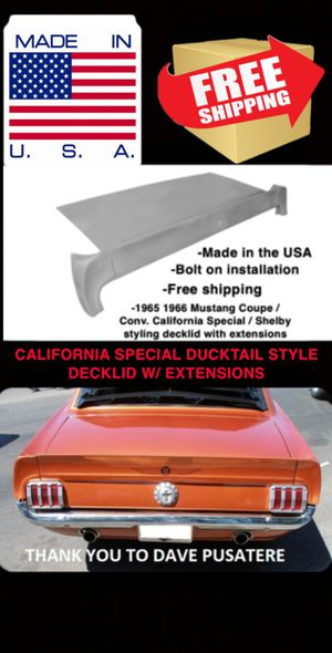 64 65 66 Mustang coupe decklid w/ extensions California special Shelby style for Sale in Henderson, NV