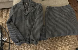 Calvin Klein striped dark grey mini skirt and blazer for Sale in Olney, MD