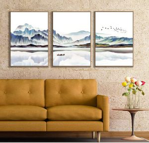 """Abstract Mountains Framed Canvas Wall Art Living Room, Bedroom Canvas Prints Home Decoration Ready to Hanging 3 Panels 24"""" x 36"""" for Sale in Bunkerville, NV"""