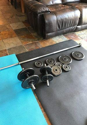 Weights set with bar and dumbbells 3 months old 170$ for Sale in San Diego, CA