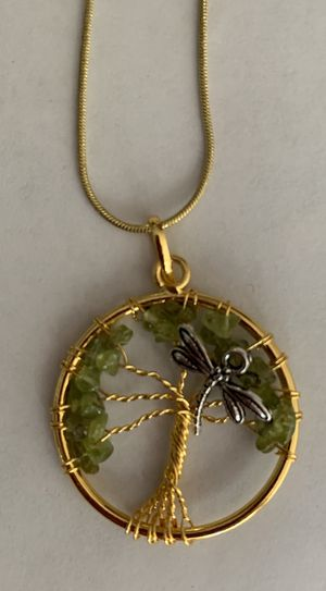Jewelry necklace Peridot dragonfly gemstone gold plated with chain or leather cord! for Sale in Worcester, MA