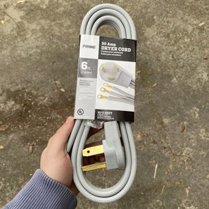 Prime 20 amp dryer cord 6ft. Used to hook your dryer up to your wall. Brand new not opened. for Sale in Savannah, GA