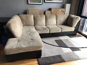 Sectional Couch / Sofa with Chaise - Comfortable Microfiber cushions, Leather base for Sale in Chicago, IL
