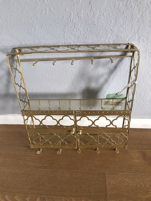 New golden Jewelry holder with bottom double doors measurements: 12 inches wide; 15.5inches tall. $25 for Sale in Fresno, CA