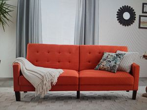BETTER HOMES AND GARDENS PORTER FABRIC TUFTED SOFA BED CORAL ORANGE for Sale in San Francisco, CA